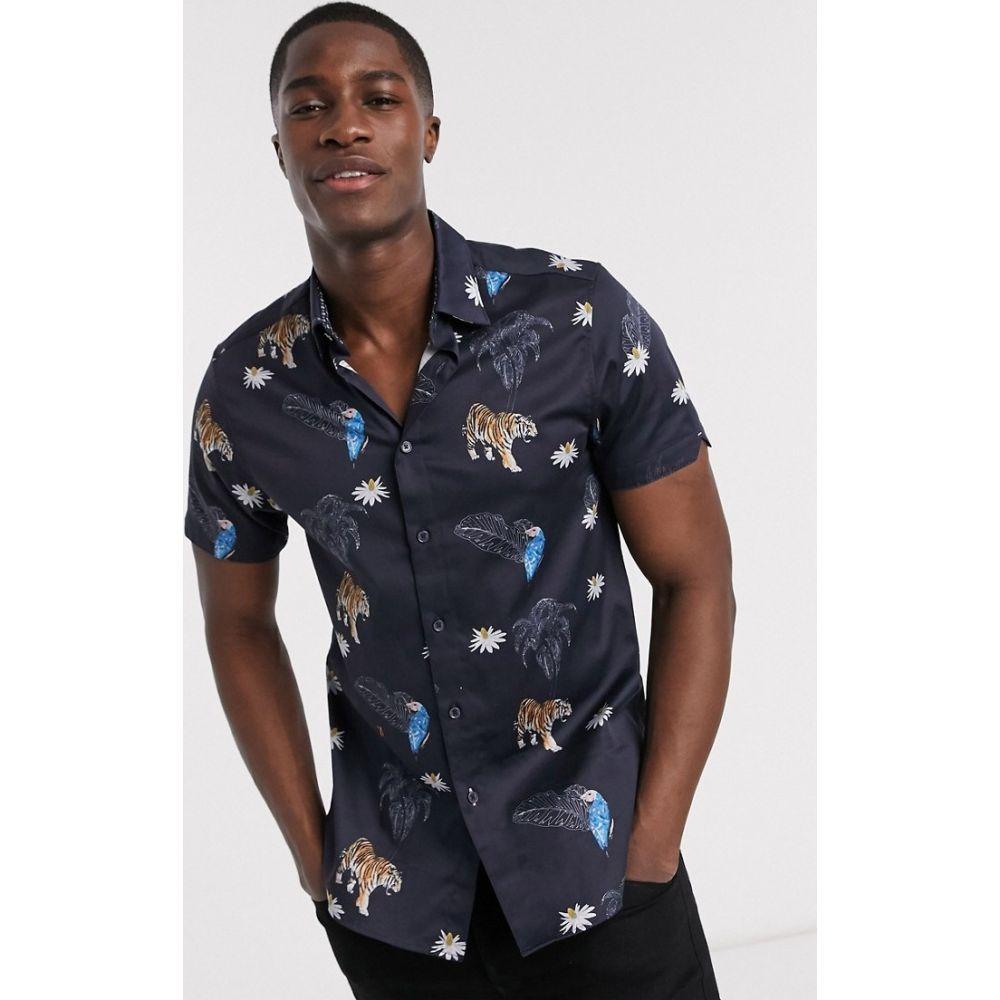 テッドベーカー Ted Baker メンズ 半袖シャツ トップス【animal print short sleeve shirt in navy】Navy