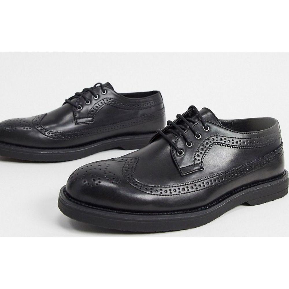 トップマン Topman メンズ 革靴・ビジネスシューズ メダリオン チャンキーヒール シューズ・靴【chunky brogues in black】Black