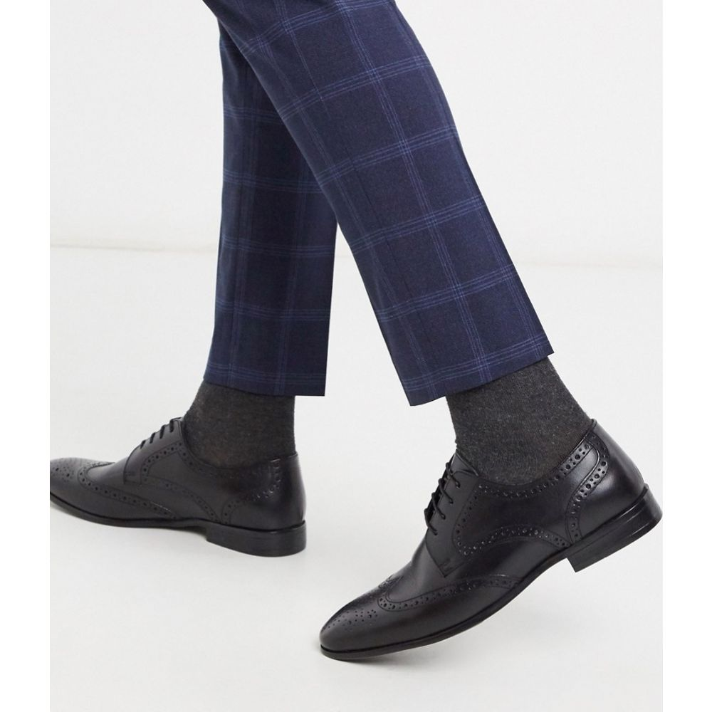 トップマン Topman メンズ 革靴・ビジネスシューズ メダリオン シューズ・靴【brogue in black】Black