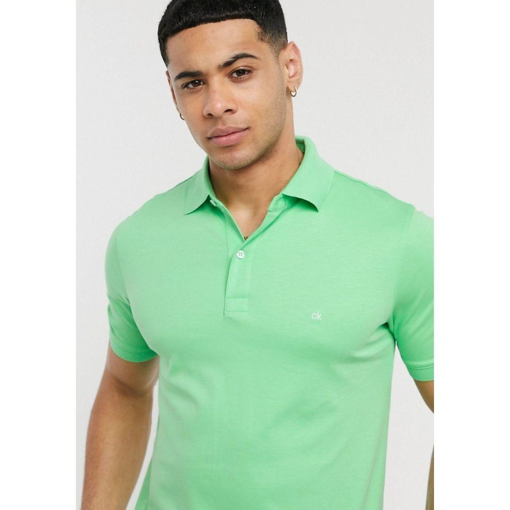 カルバンクライン Calvin Klein メンズ ポロシャツ トップス【soft interlock chest logo polo shirt】Green