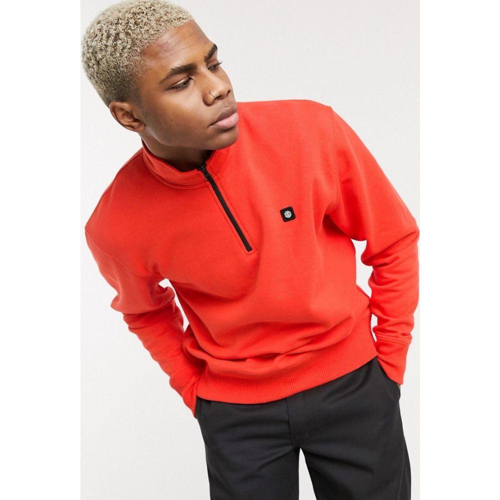 エレメント Element メンズ スウェット・トレーナー トップス【92 Track 1/4 zip sweatshirt in red】grenadine