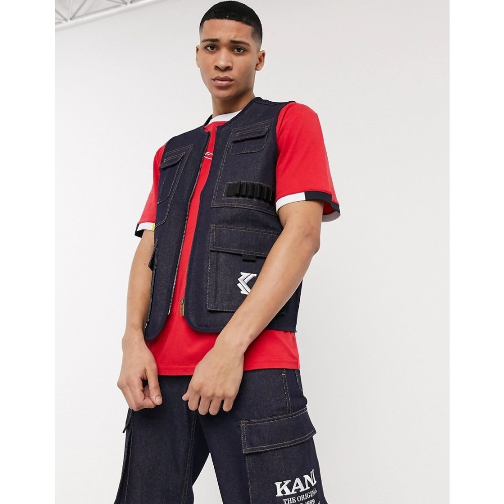 カール カナイ Karl Kani メンズ ベスト・ジレ トップス【Denim utility vest in blue】Blue