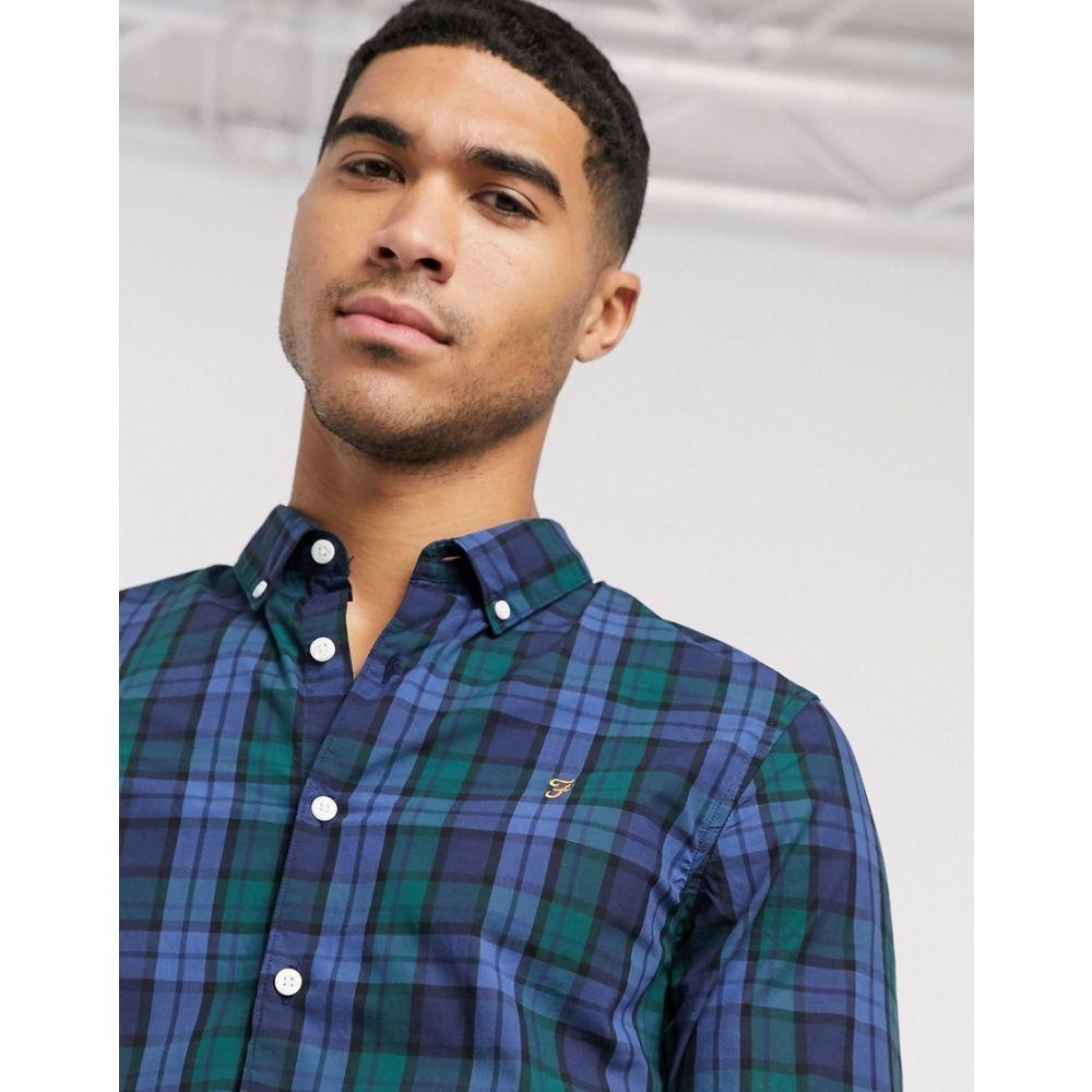 ファーラー Farah メンズ シャツ トップス【Farley check long sleeve shirt】Blue
