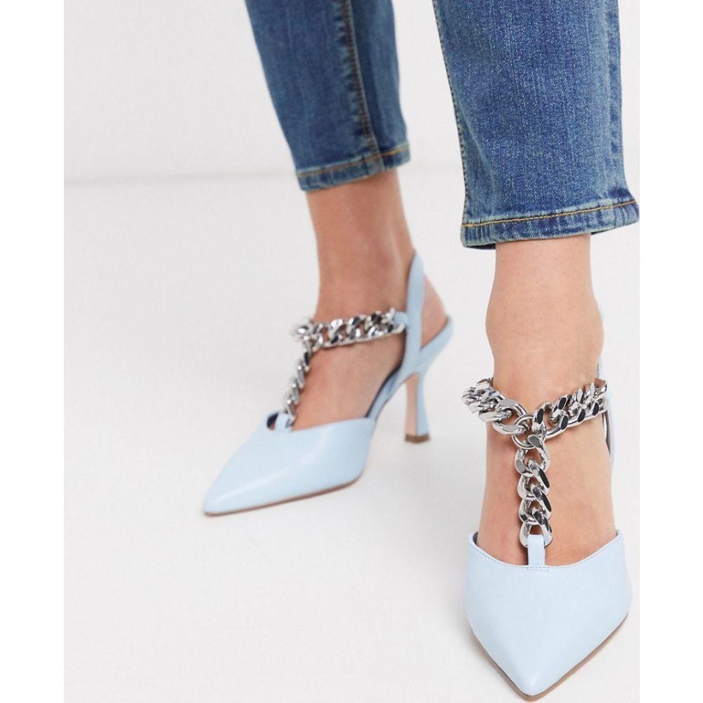 エイソス ASOS DESIGN レディース サンダル・ミュール シューズ・靴【Surprise mid heels with chain in pale blue】Pale blue