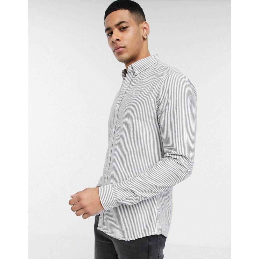 リバーアイランド River Island メンズ シャツ トップス【striped shirt in light grey】Grey