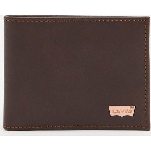 リーバイス Levi's メンズ 財布 二つ折り【hunte bi-fold leather wallet in brown】Brown