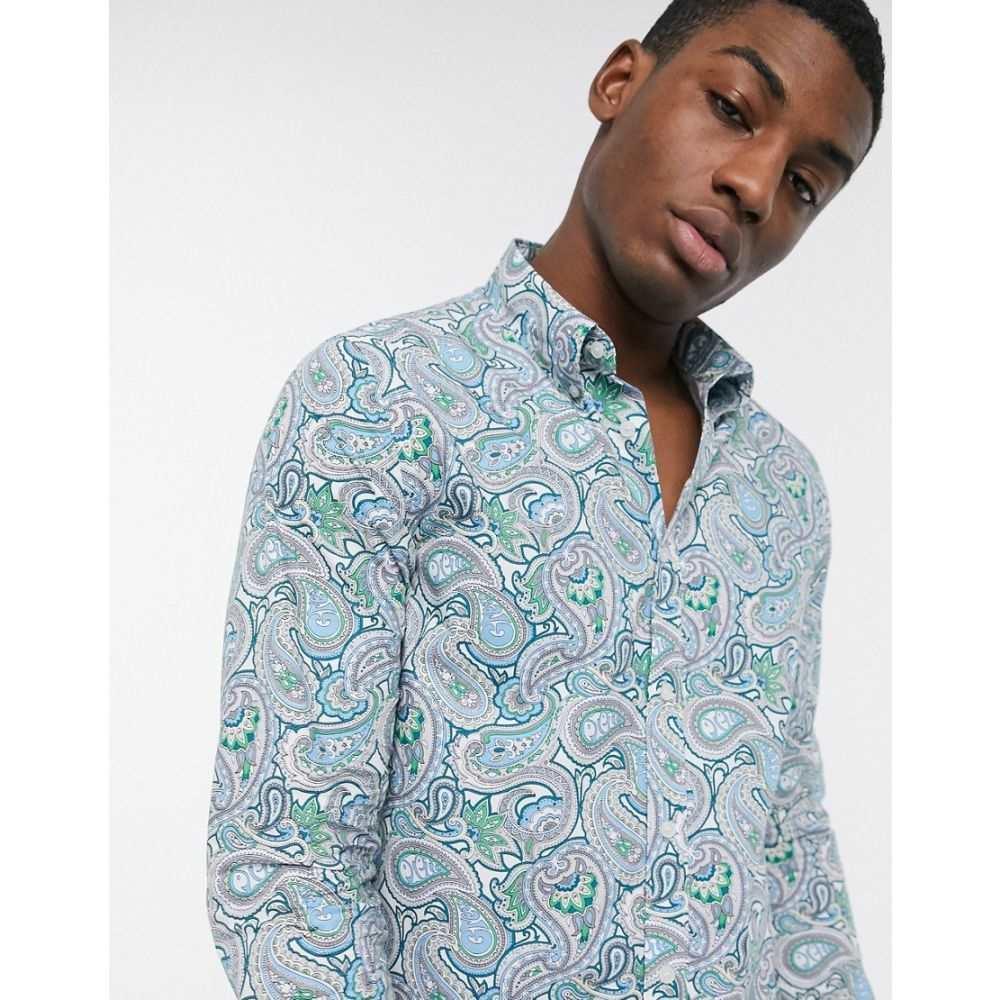 プリティー グリーン Pretty Green メンズ シャツ トップス【all over paisley print shirt in blue】Blue