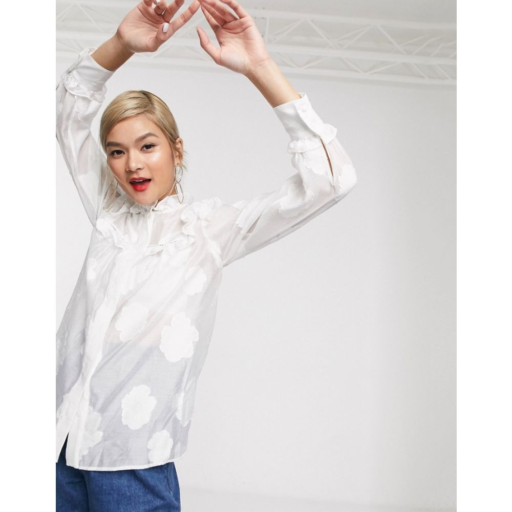 アンドアザーストーリーズ & Other Stories レディース ブラウス・シャツ トップス【puff sleeve stitch detail blouse in off white】Off white