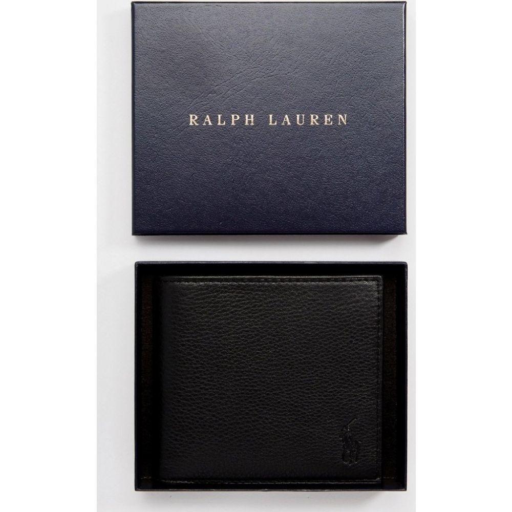 ラルフ ローレン Polo Ralph Lauren メンズ 財布 二つ折り【leather billfold wallet with coin pocket in black】Black