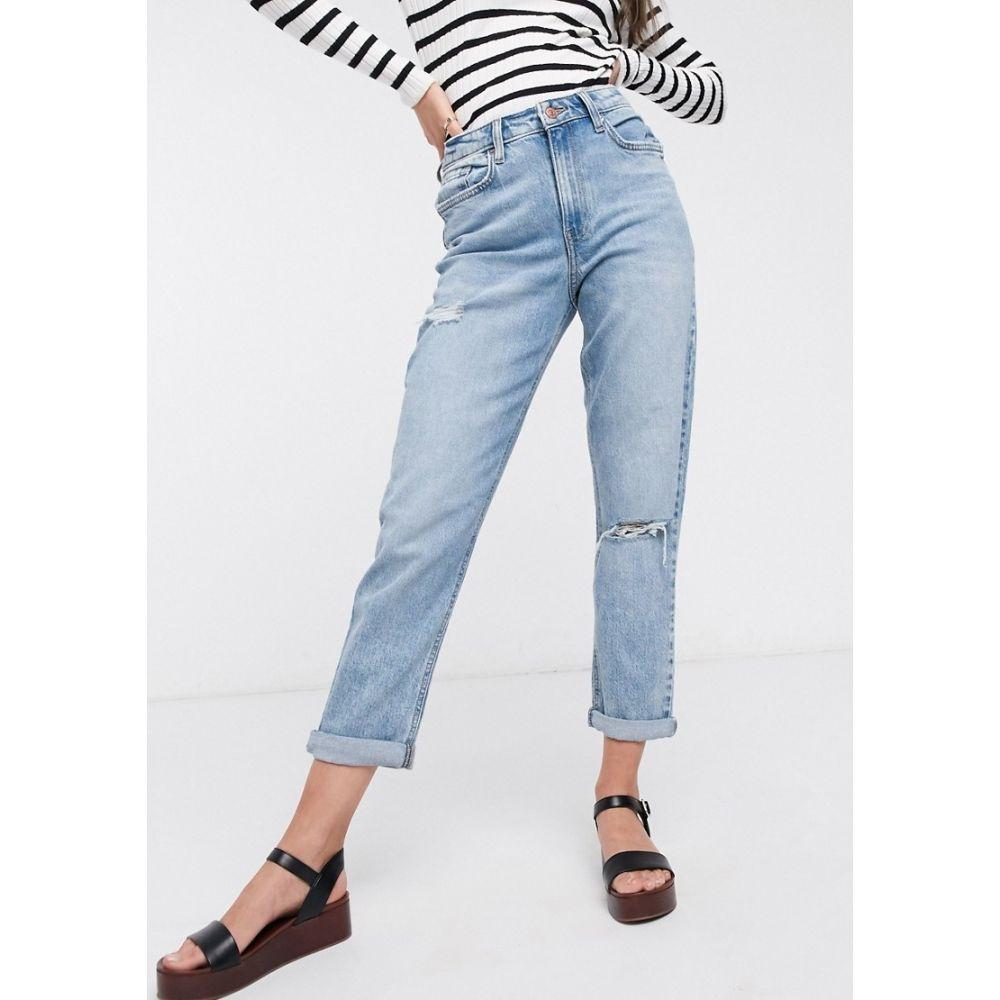 ニュールック New Look レディース ジーンズ・デニム ボトムス・パンツ【mom jeans with rips in light blue】Light blue