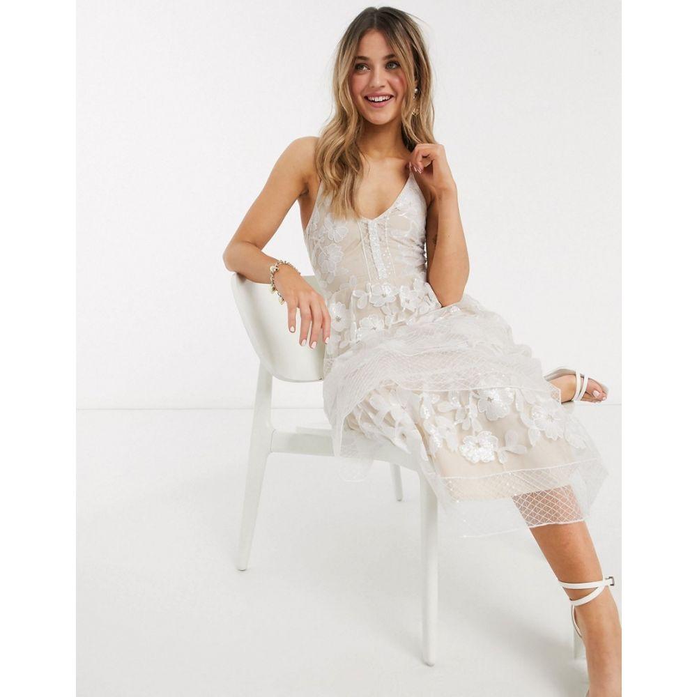 フォーエバー ユー Forever U レディース ワンピース ティアードドレス ワンピース・ドレス【tiered midi dress in embroidered lace in white】White