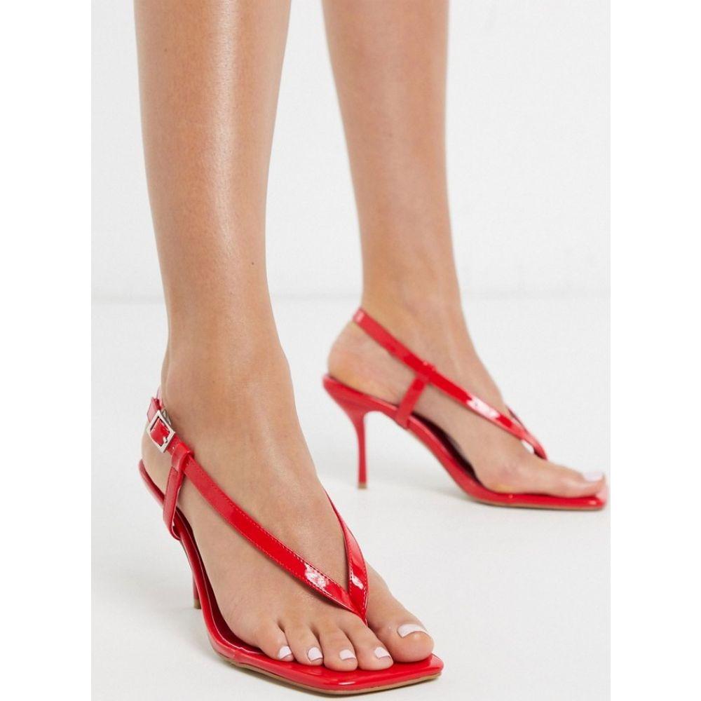 シミ SIMMI Shoes レディース ビーチサンダル シューズ・靴【Simmi London Estelle toe thong heeled sandas in red】Red patent