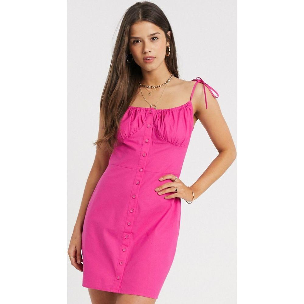 ファッションユニオン Fashion Union レディース ワンピース ミニ丈 ワンピース・ドレス【button front mini dress with tie detail】Hot pink