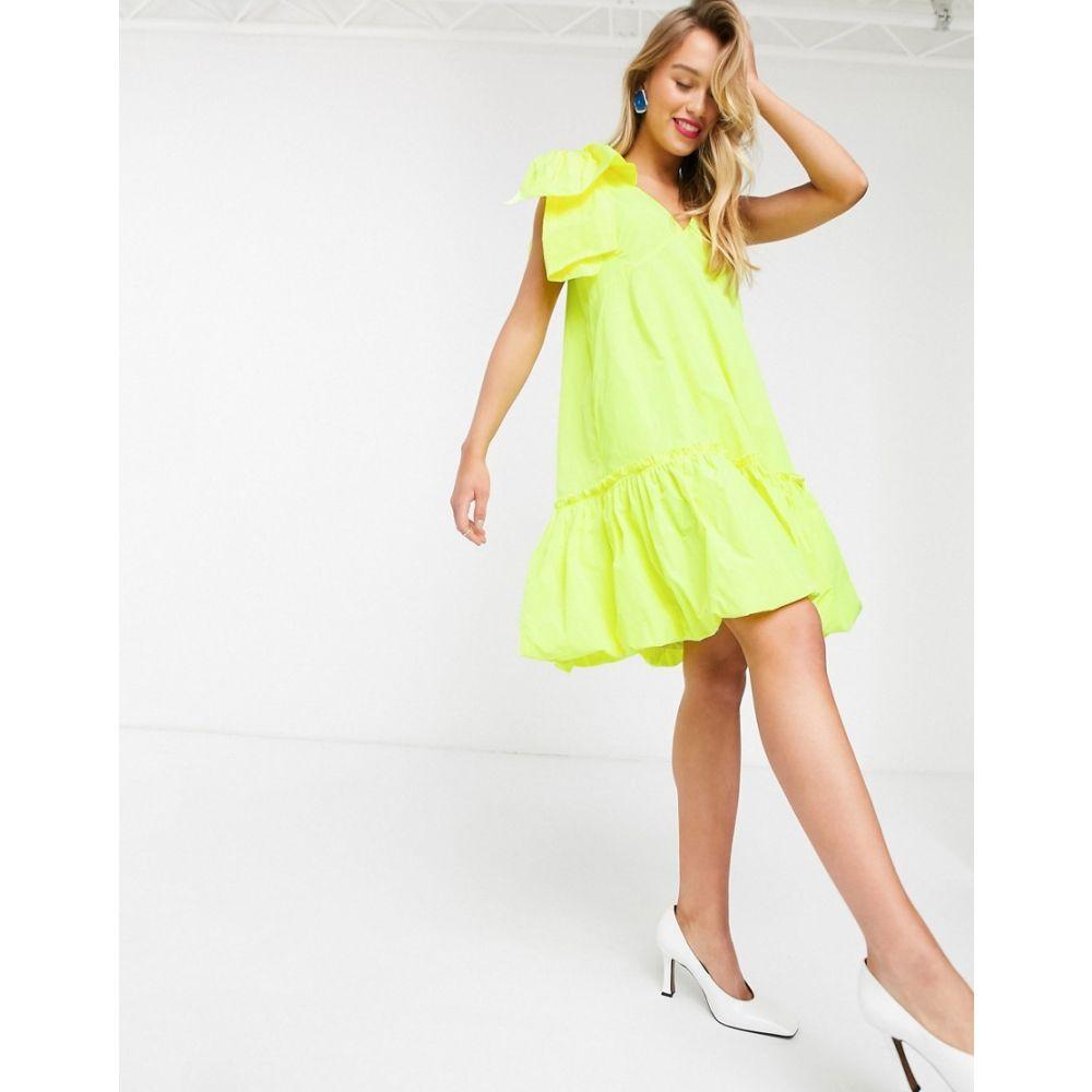エッセンシャル Essentiel Antwerp レディース ワンピース ミニ丈 ワンピース・ドレス【Volleyball puffball mini dress in yellow】Fluo yellow
