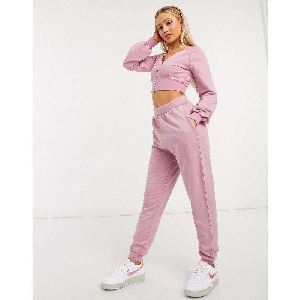 エイソス ASOS DESIGN レディース ジョガーパンツ Vネック ボトムス・パンツ【tracksuit washed V neck zip front sweat / jogger】Pink
