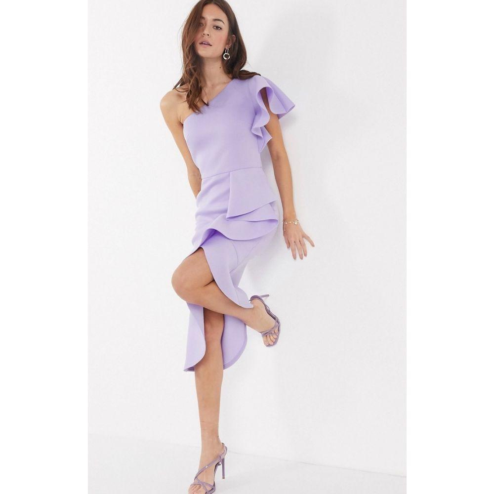 トゥルーヴァイオレット True Violet レディース ワンピース ワンピース・ドレス【one shoulder ruffle midi dress in lilac】Lilac