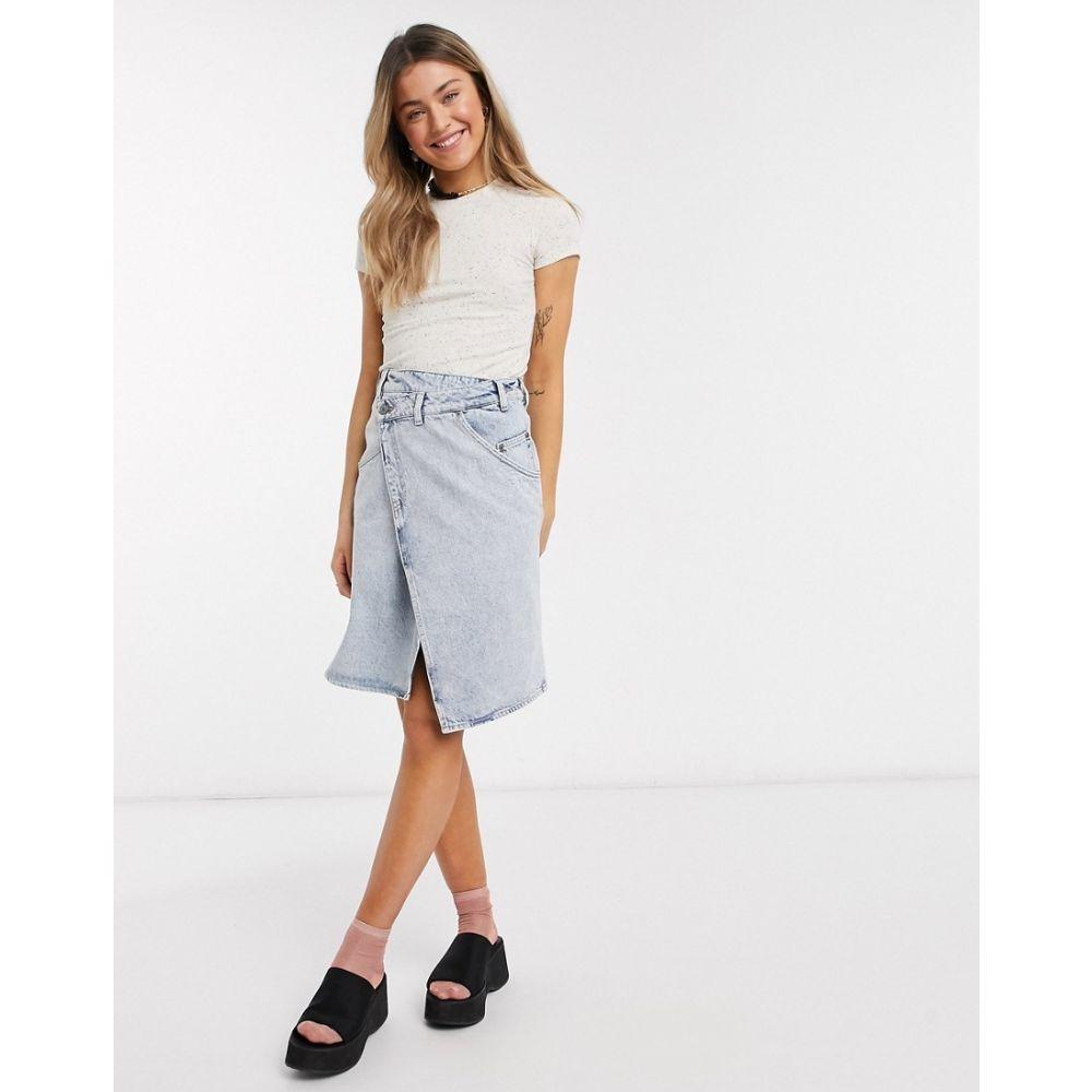 モンキ Monki レディース スカート デニム ラップスカート【Ami organic cotton denim wrap skirt in beach blue】Blue