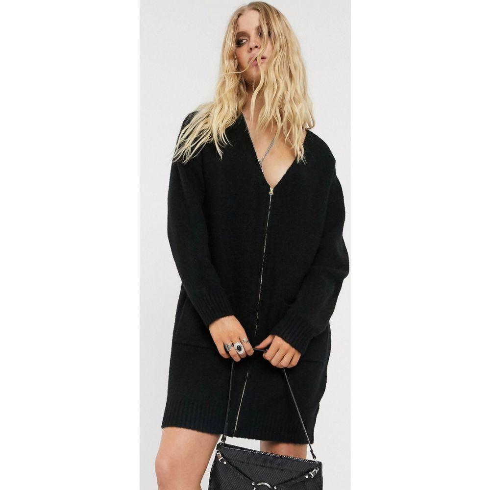 エイソス ASOS DESIGN レディース ワンピース ワンピース・ドレス【fluffy cardigan dress with zip detail】Black