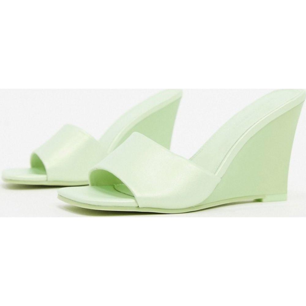 エイソス ASOS DESIGN レディース サンダル・ミュール ウェッジソール シューズ・靴【Tangle wedge mules in lime】Lime