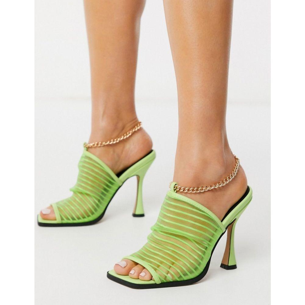 エイソス ASOS DESIGN レディース サンダル・ミュール スクエアトゥ シューズ・靴【Nelson square toe mesh heeled sandals in green】Green