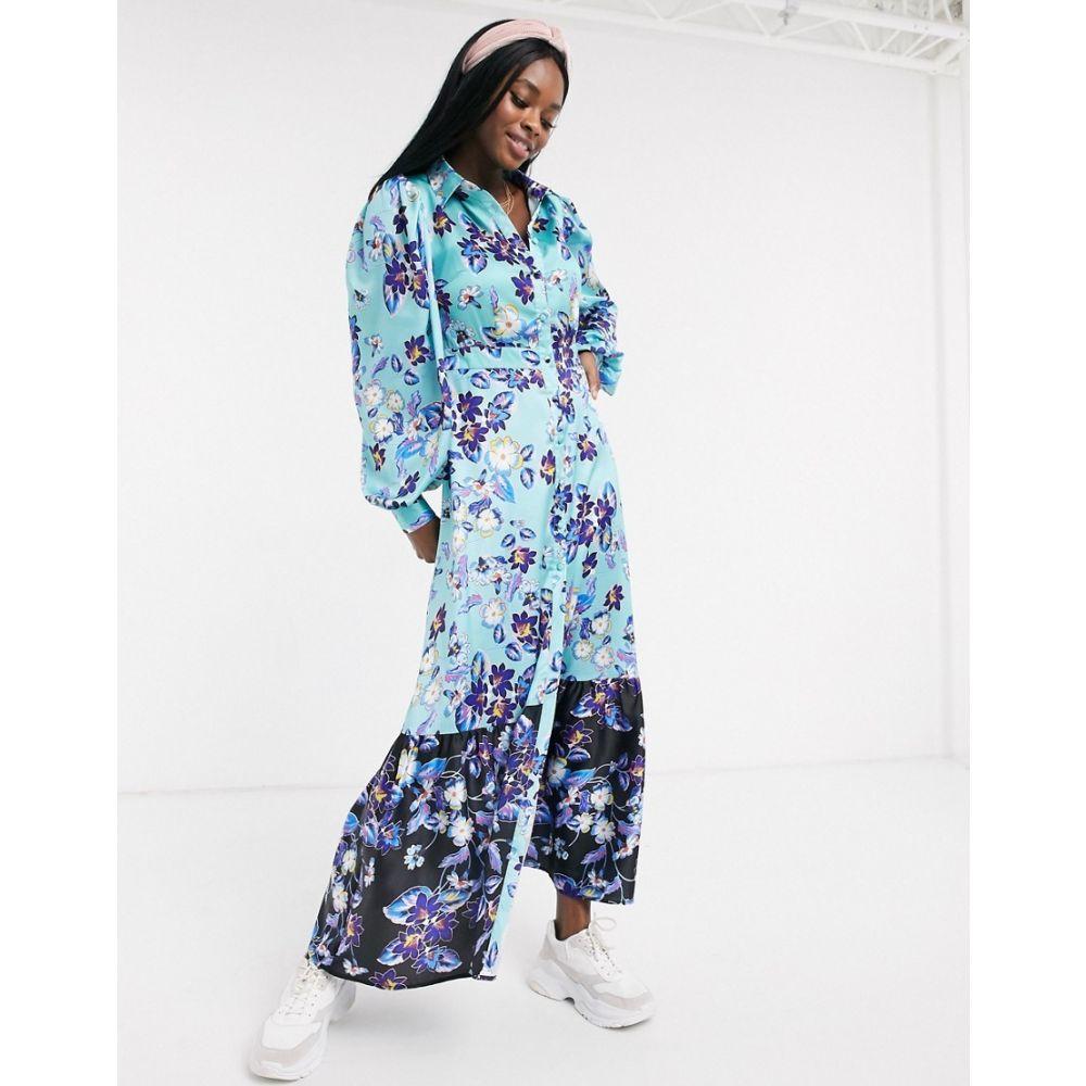 リカリッシュ Liquorish レディース ワンピース マキシ丈 ワンピース・ドレス【long sleeve maxi dress with contrast hem in teal floral】Teal floral