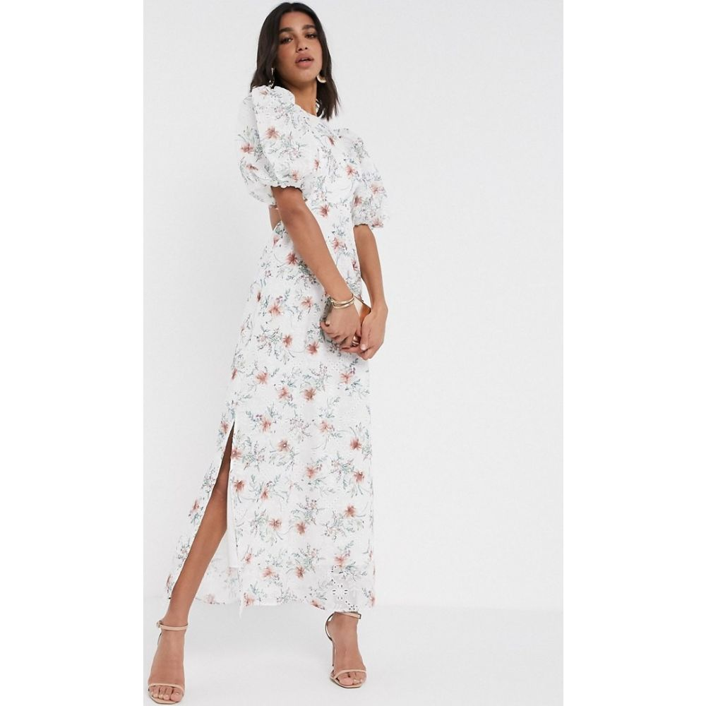 エイソス ASOS DESIGN レディース ワンピース ワンピース・ドレス【broderie maxi dress with cut out back in floral print】White based floral