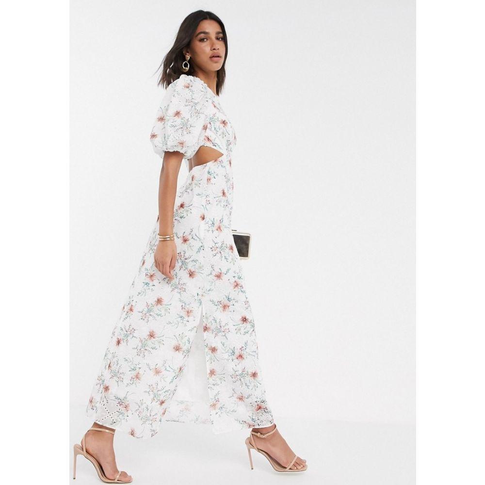 エイソス ASOS DESIGN レディース ワンピース ワンピース・ドレス broderie maxi dress with cut out back in floral print White based floralshQrxdCt