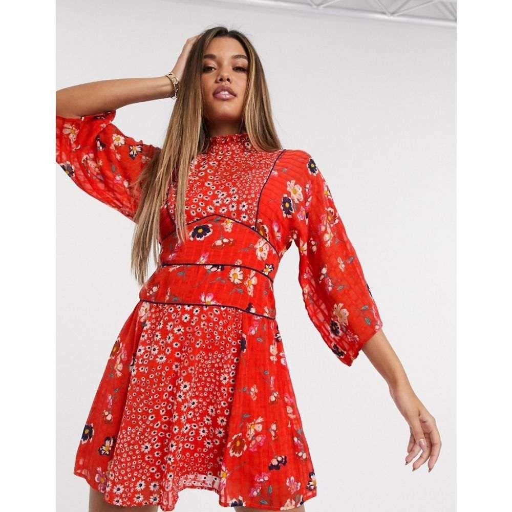 エイソス ASOS DESIGN レディース ワンピース ワンピース・ドレス【high neck mini dress in mixed floral print】Mixed red based flor