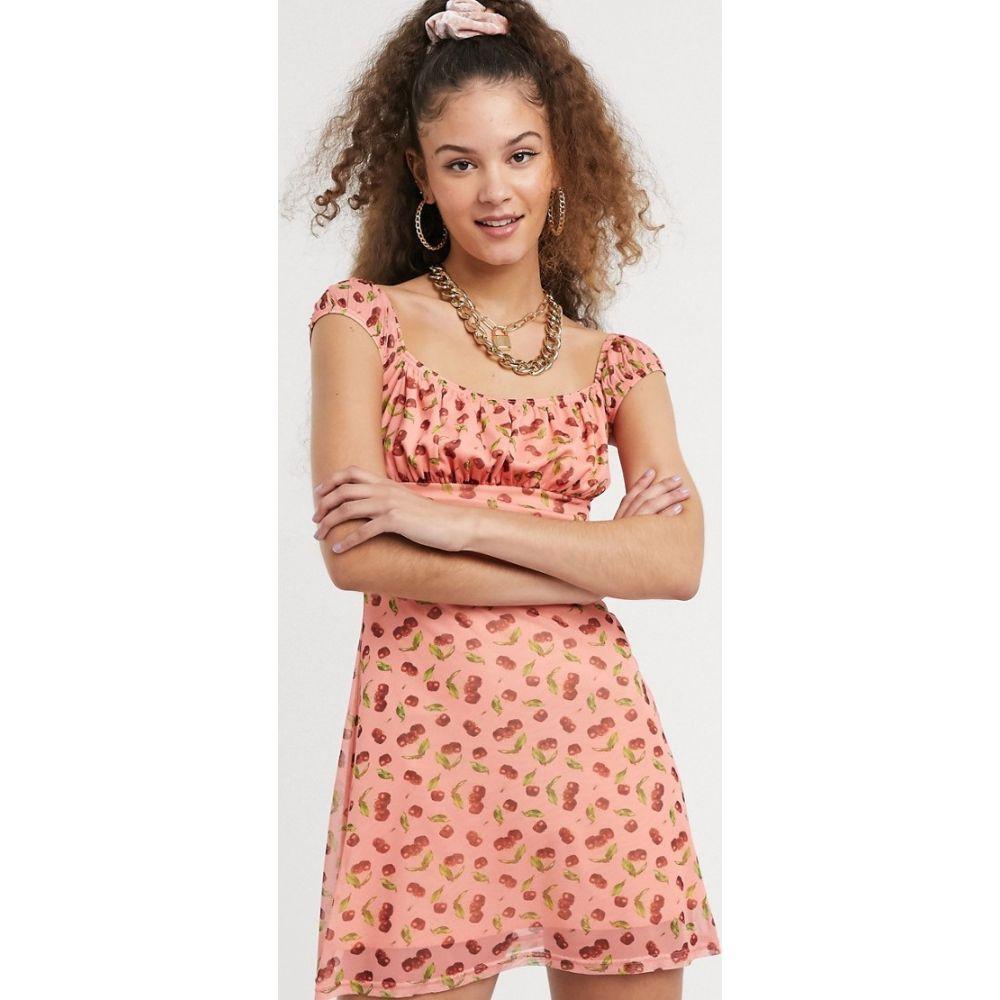 ニューガールオーダー New Girl Order レディース ワンピース ミニ丈 ワンピース・ドレス【mini tea dress with ruffle bust in cherry print】Cherry pink