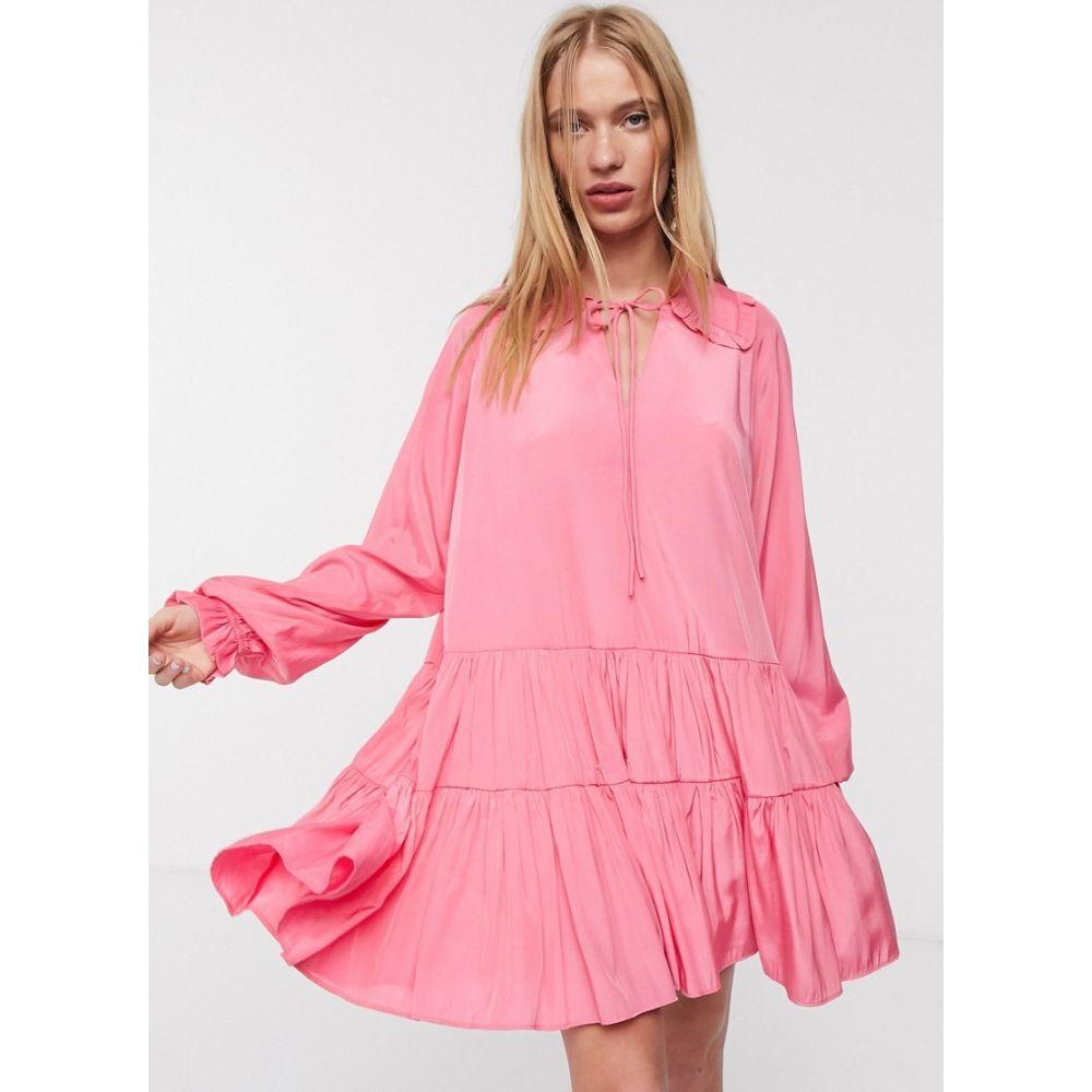 グラマラス Glamorous レディース ワンピース ミニ丈 ワンピース・ドレス【mini smock dress with frill collar and layered skirt】Pink