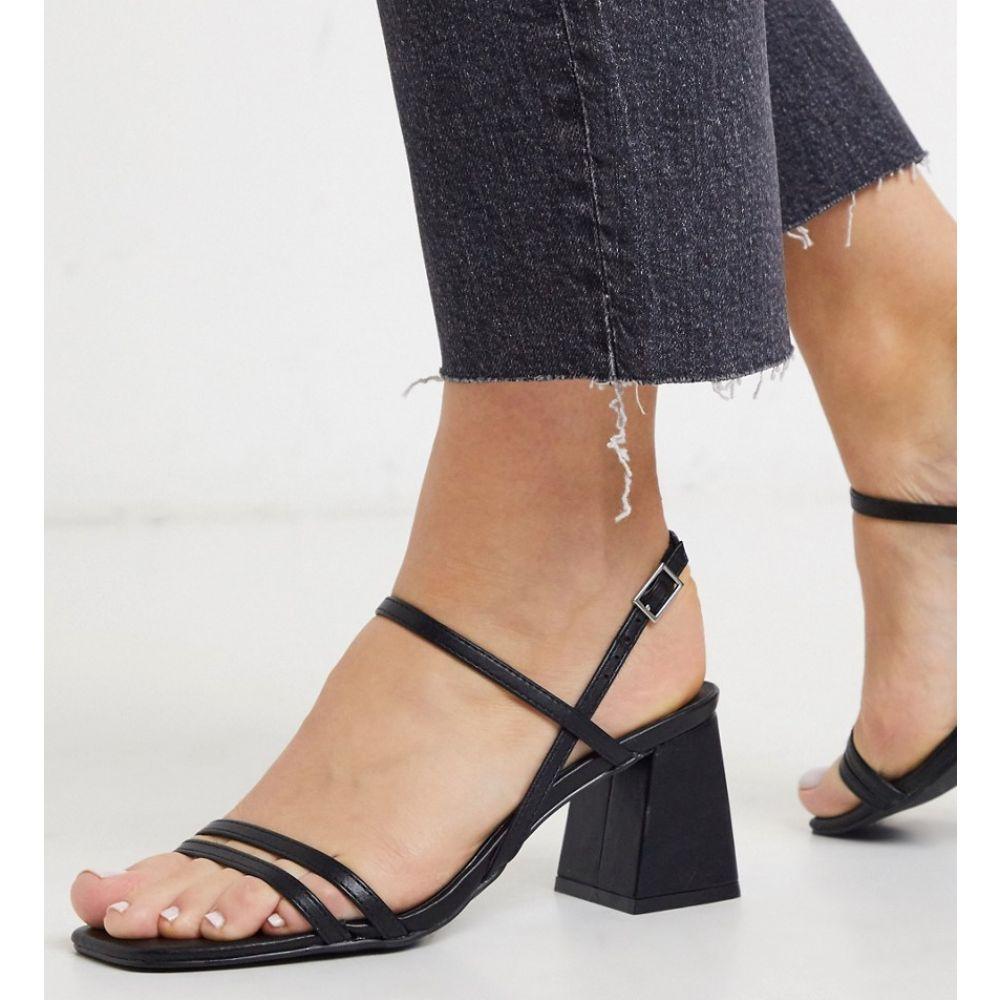 ニュールック New Look レディース サンダル・ミュール スクエアトゥ シューズ・靴【strappy square toe flared heeled sandals in black】Black