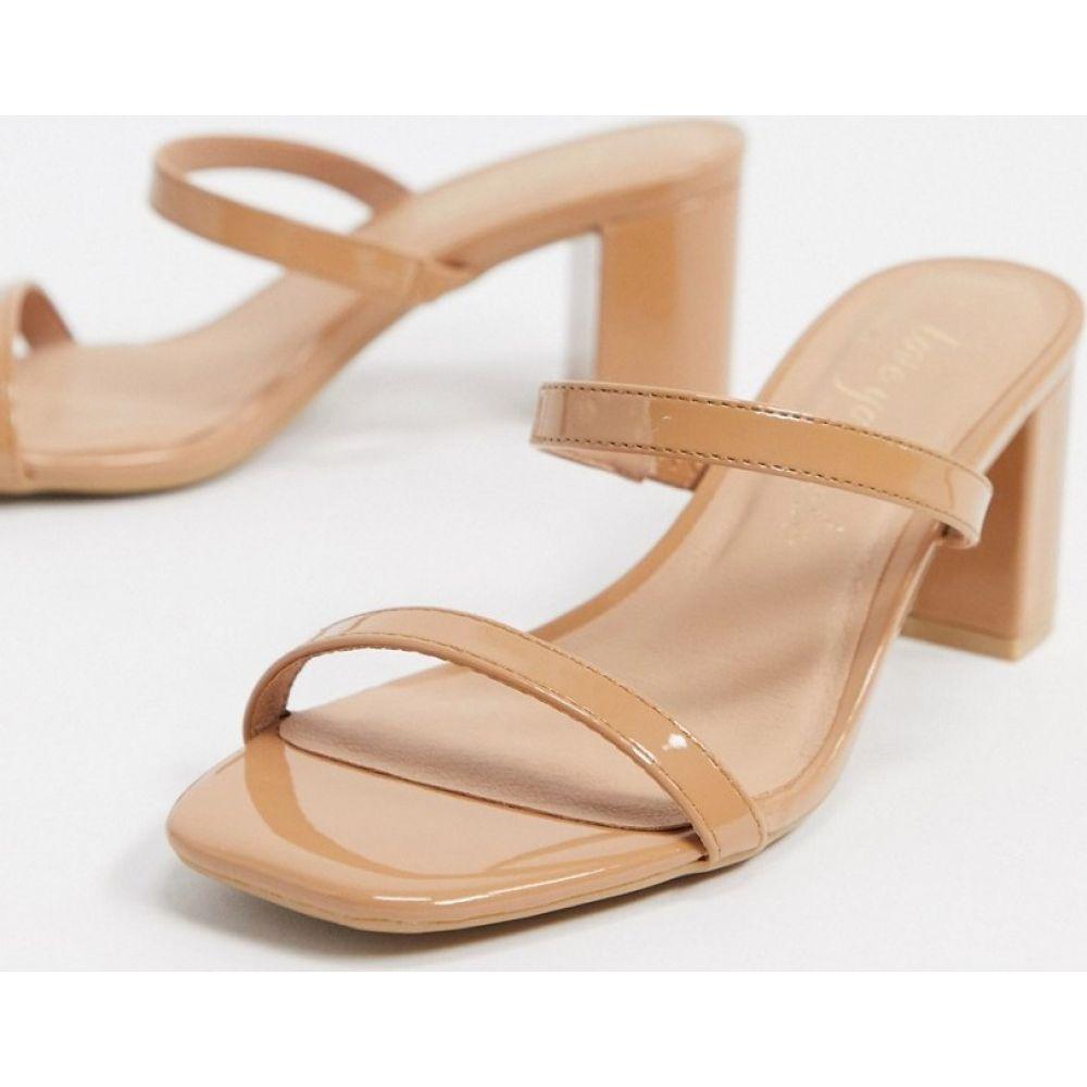 ニュールック New Look レディース サンダル・ミュール シューズ・靴【strappy leather look heeled mule sandals in beige】Camel