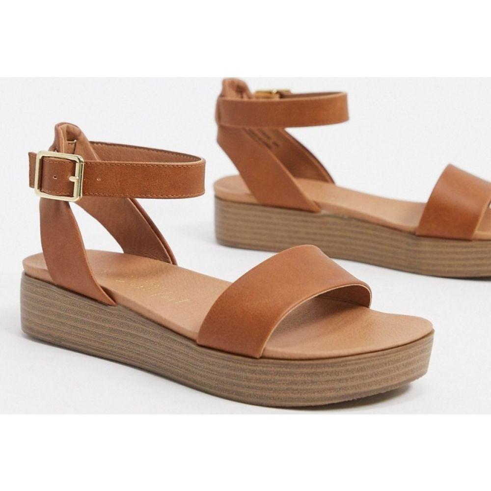 ニュールック New Look レディース サンダル・ミュール シューズ・靴【flatform sandals in tan】Tan
