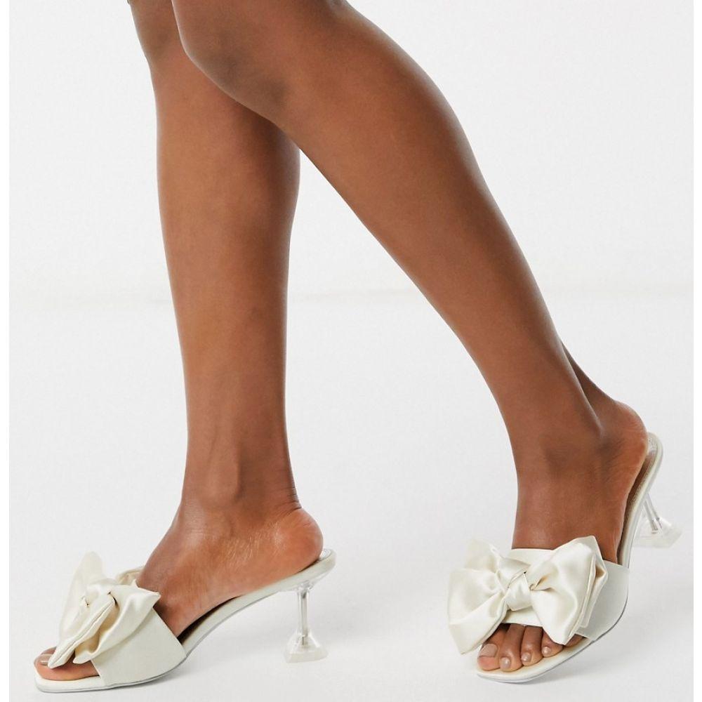 エイソス ASOS DESIGN レディース サンダル・ミュール シューズ・靴【Honesty bow mules with flared heel in ivory】Ivory