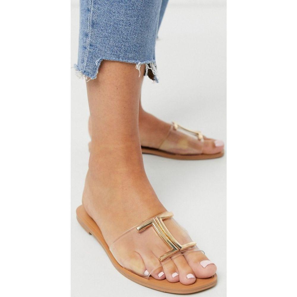 エイソス ASOS DESIGN レディース サンダル・ミュール フラット シューズ・靴【Factor clear flat sandals】Clear