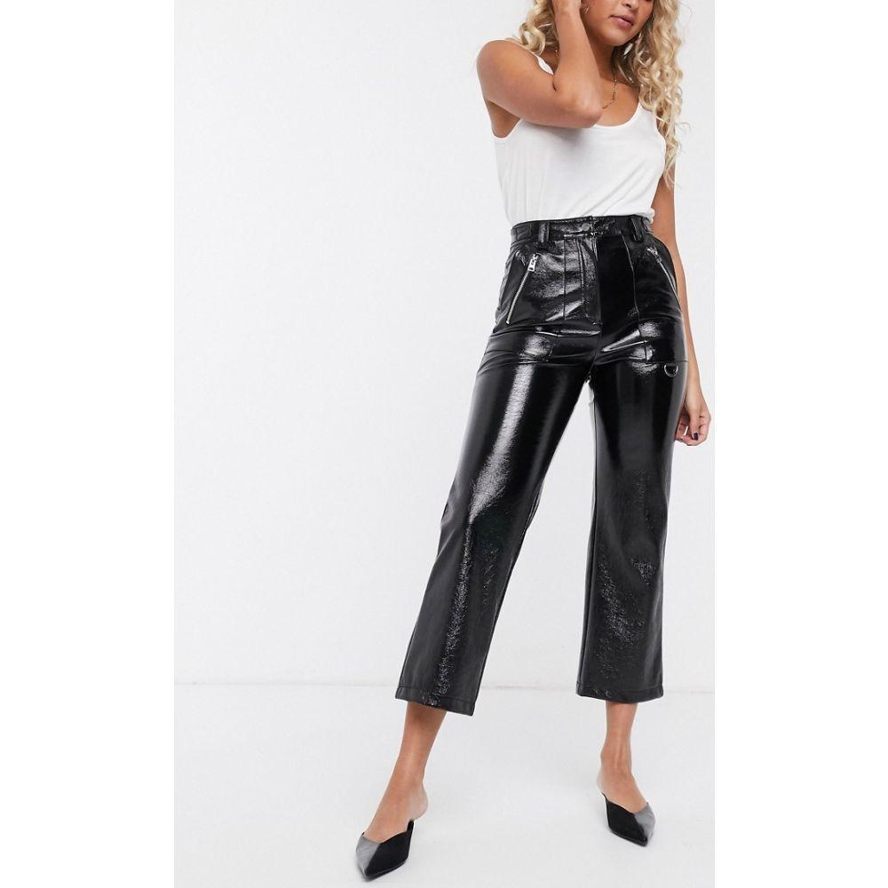 トップショップ Topshop レディース ボトムス・パンツ 【vinyl straight leg trousers in black】Black
