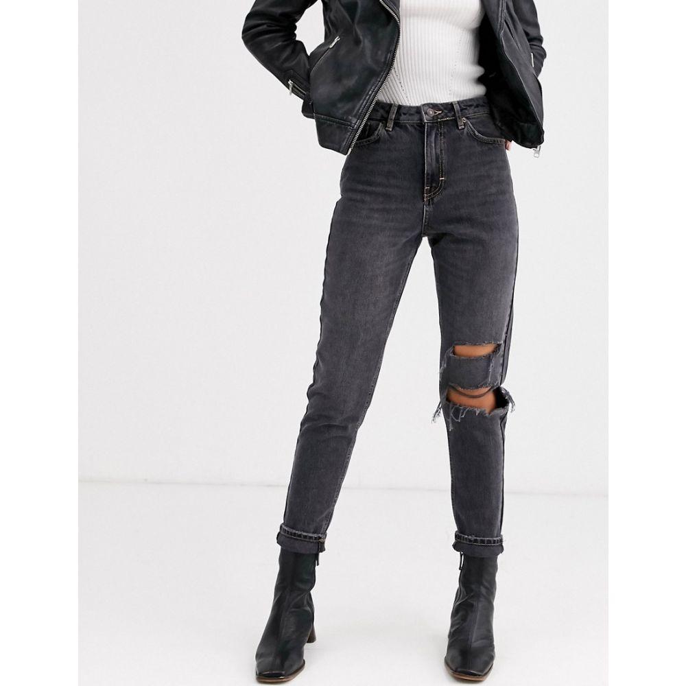 トップショップ Topshop レディース ジーンズ・デニム ボトムス・パンツ【mom jeans with rips in washed black】Black