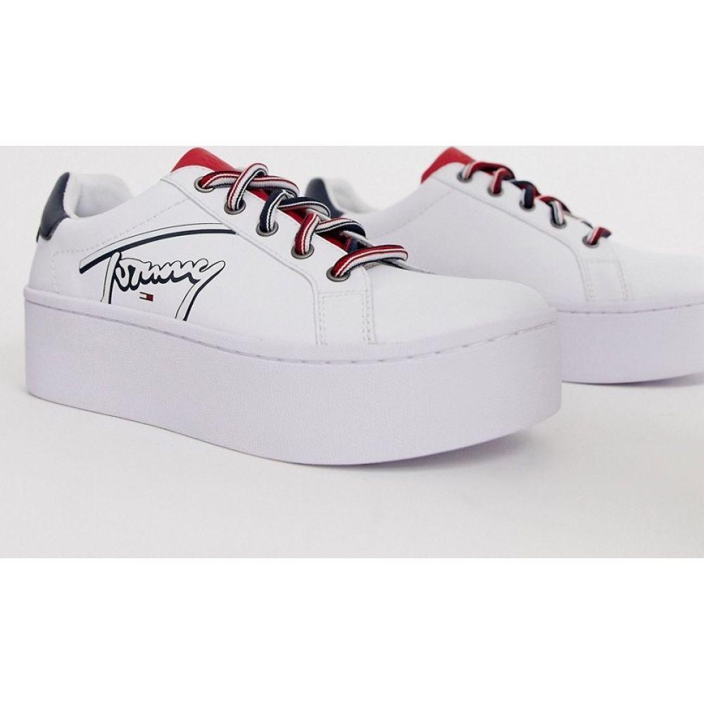 トミー ジーンズ Tommy Jeans レディース スニーカー シューズ・靴 Icon signature logo flatform sneakers in white RwbCedBoWrx