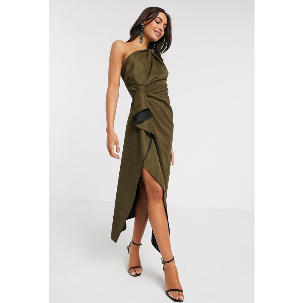エイソス ASOS DESIGN レディース ワンピース ワンピース・ドレス【suedette one shoulder knot detail drape midi dress in khaki】Khaki
