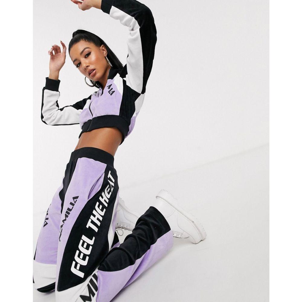 ナミリア Namilia レディース ジャケット アウター【cropped velour jacket with diamante sleeve slogan co-ord】Purple