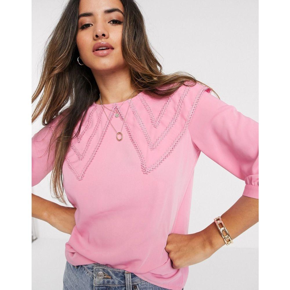 ヴェロモーダ Vero Moda レディース ブラウス・シャツ トップス【blouse with oversized prairie collar in pink】Pink