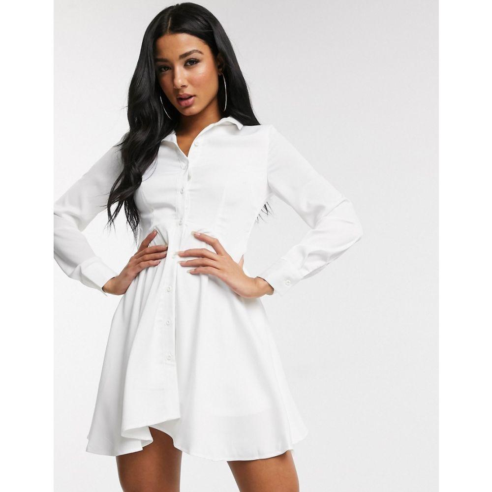 ユニーク21 UNIQUE21 レディース ワンピース シャツワンピース ワンピース・ドレス【Unique21 hi low hem shirt dress in cream】White