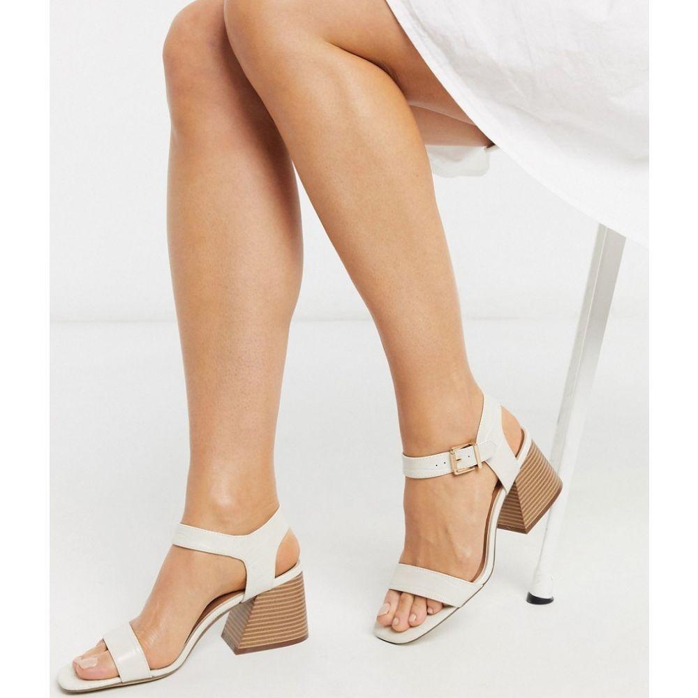 ニュールック New Look レディース サンダル・ミュール シューズ・靴【croc flare heeled sandals in off white】Off white