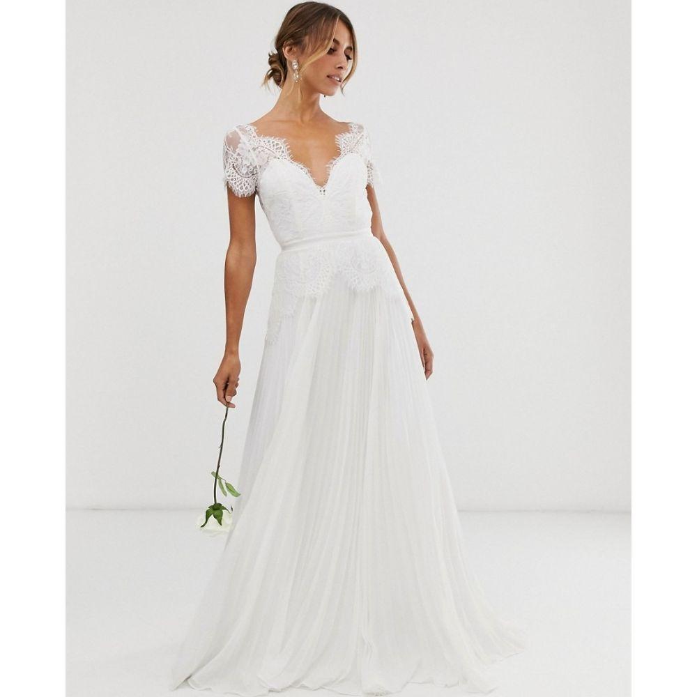 エイソス ASOS EDITION レディース パーティードレス ウェディングドレス ワンピース・ドレス【plunge lace wedding dress with pleated skirt】Ivory