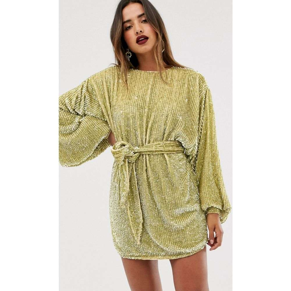 エイソス ASOS EDITION レディース ワンピース ミニ丈 ワンピース・ドレス【oversized blouson sleeve mini dress in sequin】Pale green