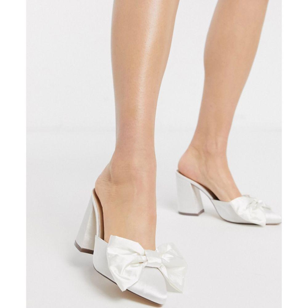 ロンドン レーベル London Rebel レディース サンダル・ミュール シューズ・靴【bridal bow heeled mule in white】White satin