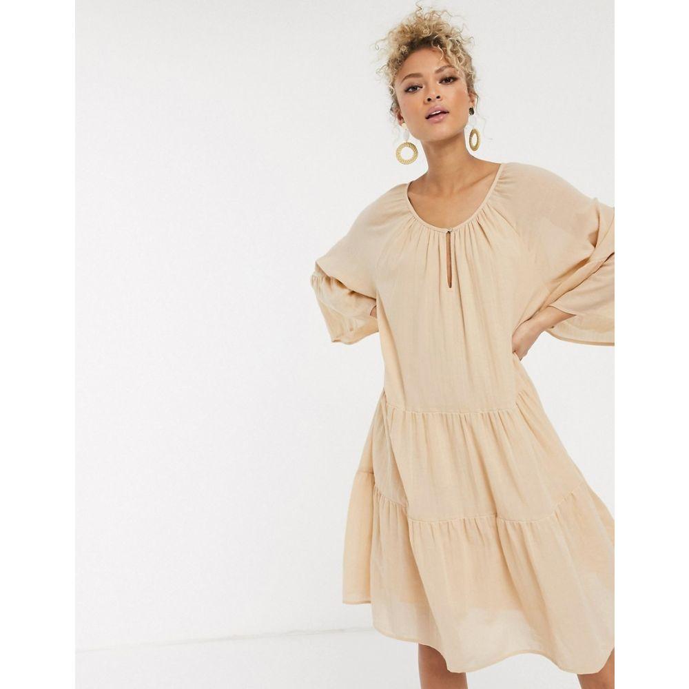 ピーシーズ Pieces レディース ワンピース ワンピース・ドレス【oversized smock dress in beige linen】Beige
