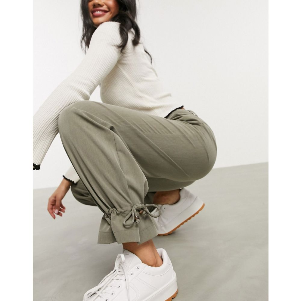 ピーシーズ Pieces レディース ボトムス・パンツ 【casual trousers with cuff detail in khaki】Khaki