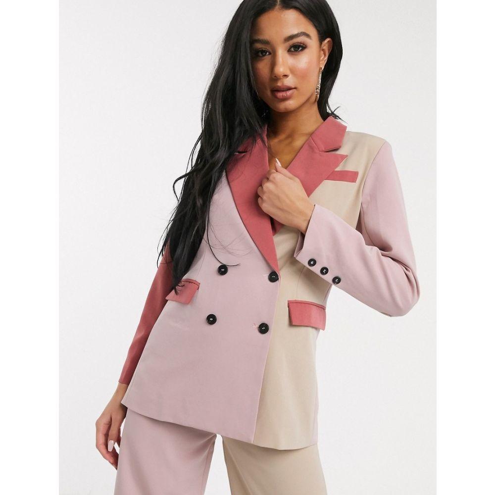 ユニーク21 UNIQUE21 レディース スーツ・ジャケット アウター【Unique21 contrast panelled blazer in cream and pinks】Cream/pink