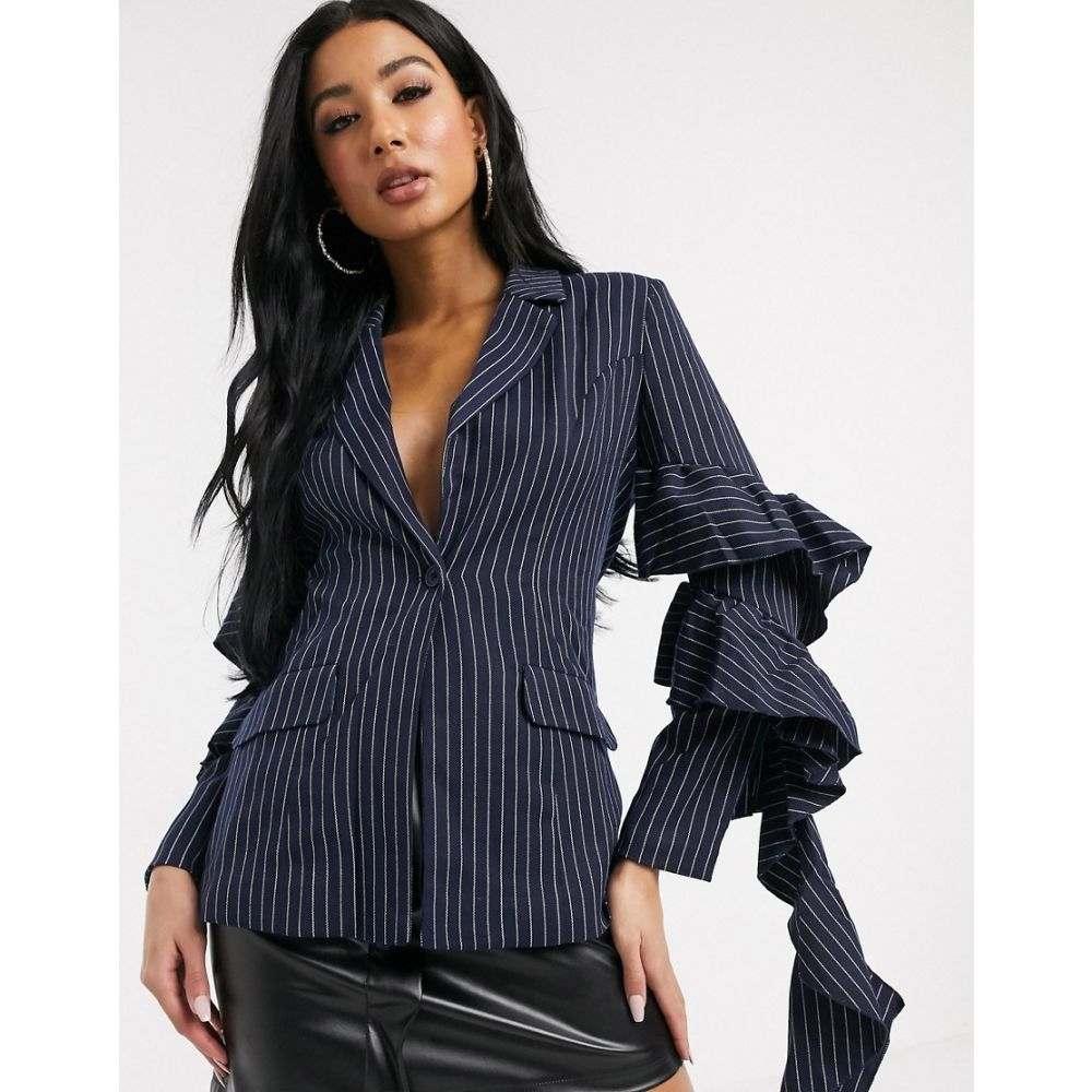 ユニーク21 UNIQUE21 レディース スーツ・ジャケット アウター【Unique21 ruffle sleeve blazer in navy stripe】Navy stripe